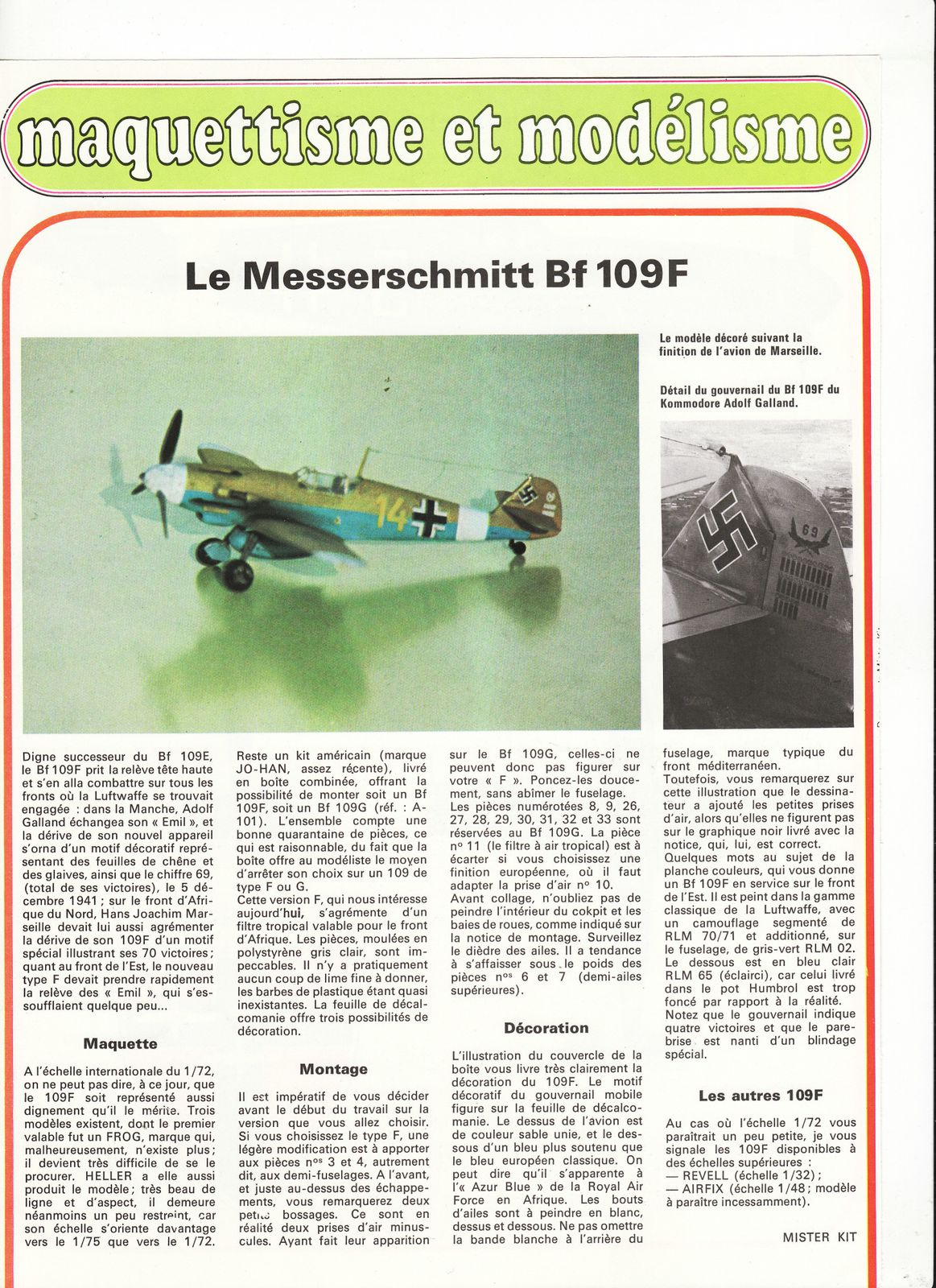 avion messerschmitt BF 109F.0