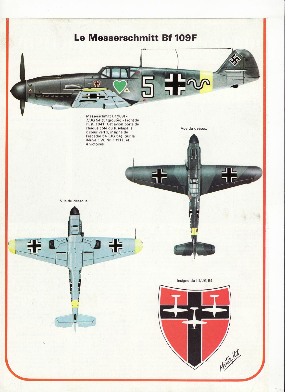 avion messerschmitt BF 109F.1