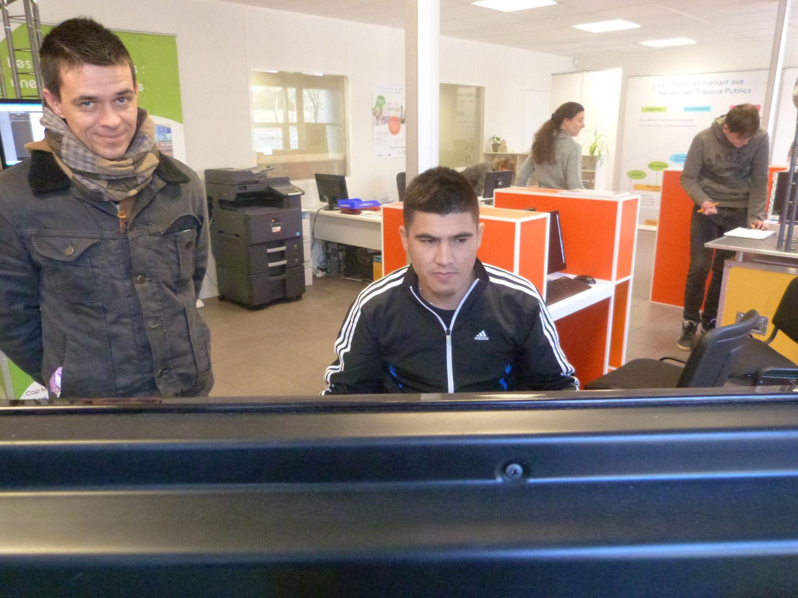 Exposition à l'EMA, février 2015 : Oliver, Abas, Hugo, Nicolas