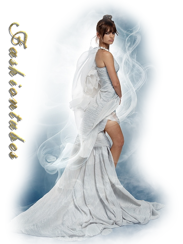 femme robe longue traine blanche voluptueuse(tube misted