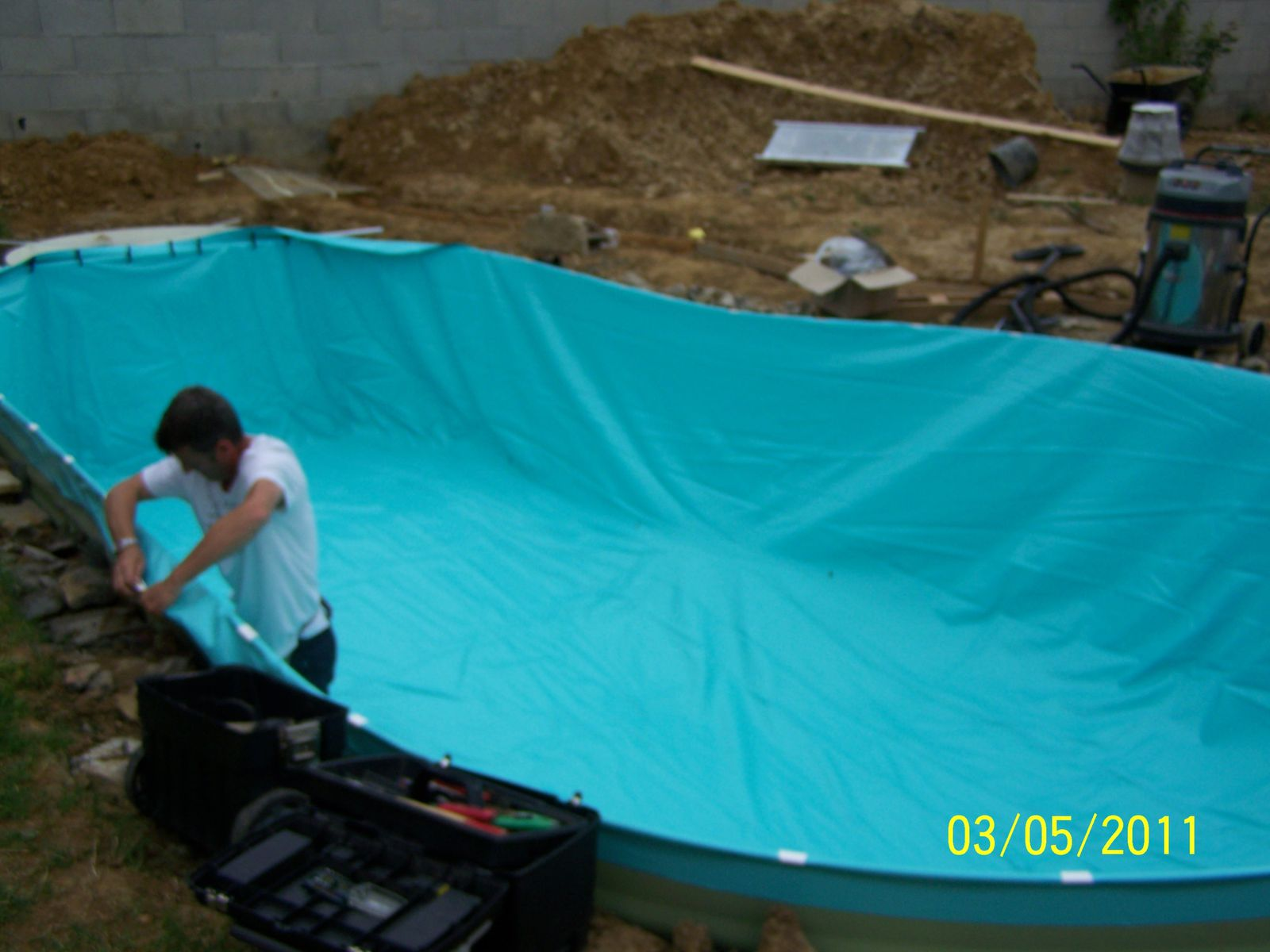 Pose du liner montage piscine waterair for Pose liner piscine bois