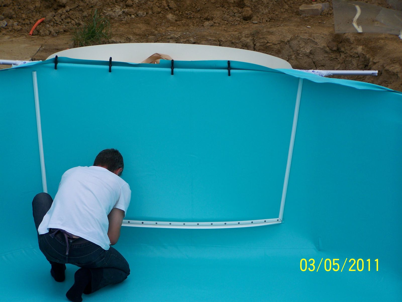Pose du liner montage piscine waterair for Prix pose liner piscine