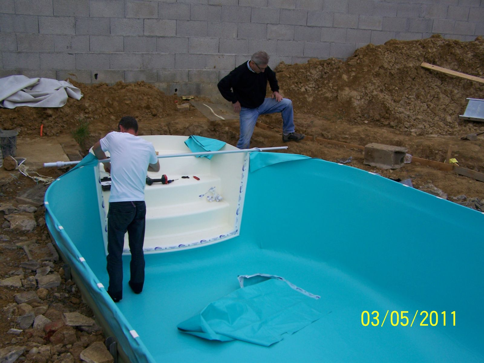 Pose du liner montage piscine waterair for Remplacement liner piscine waterair