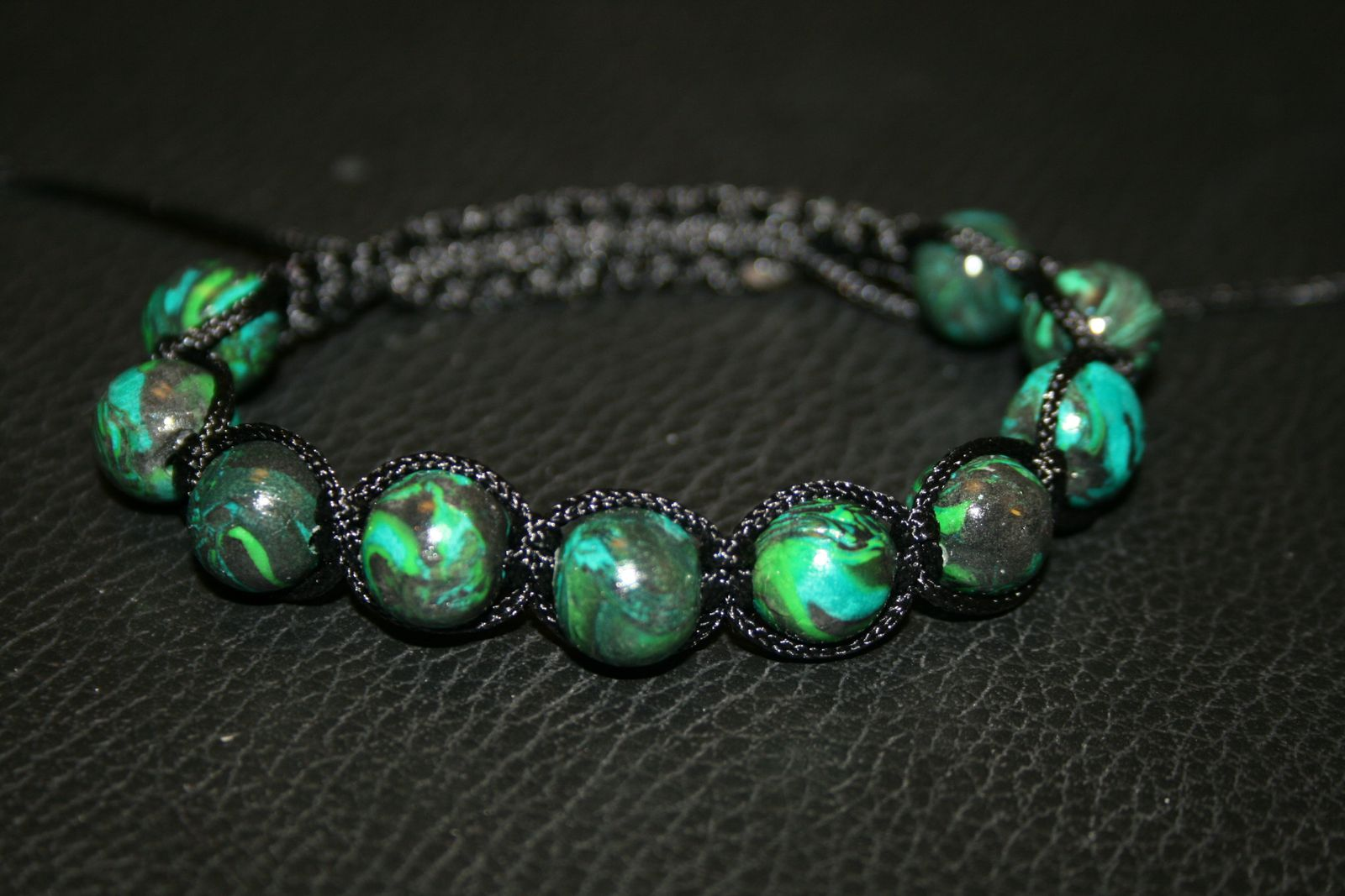 shamballa perles nuances de vert en fimo le blog d 39 angycreations. Black Bedroom Furniture Sets. Home Design Ideas