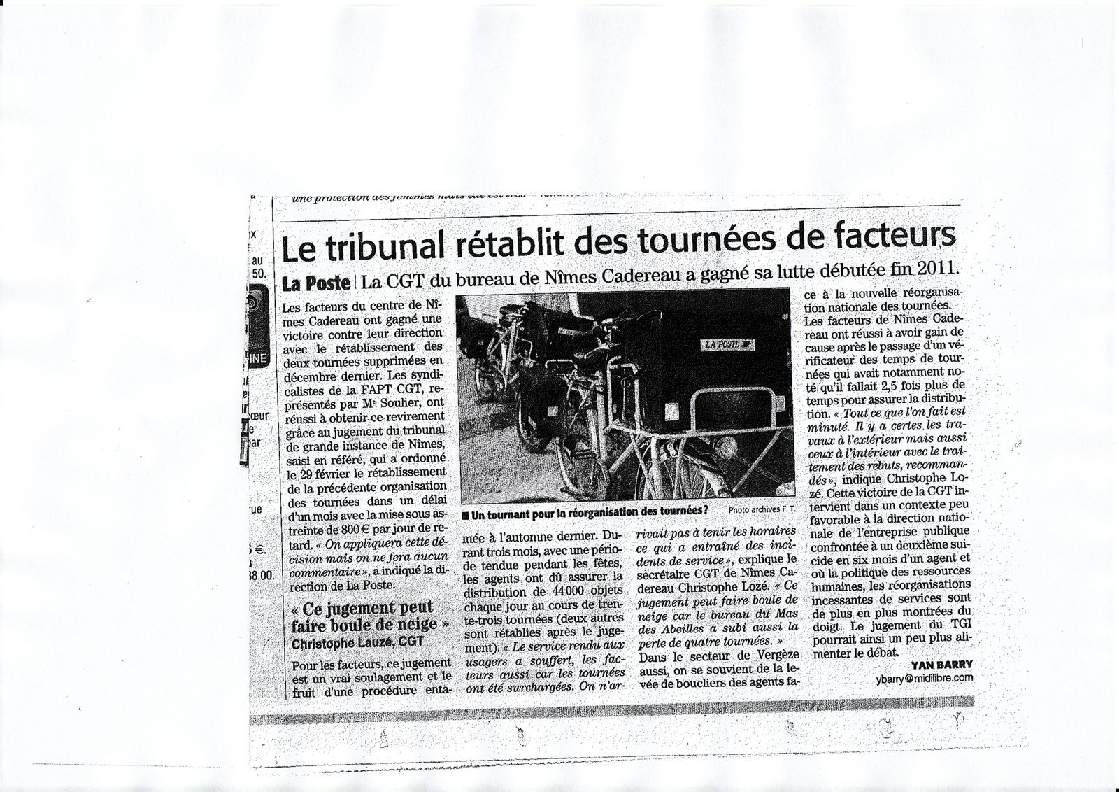 article midi libre sur nimes cadereau le blog de la cgt fapt48. Black Bedroom Furniture Sets. Home Design Ideas