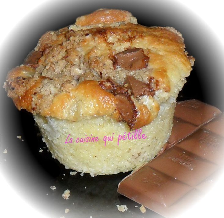 muffin poire chocolat crumble noisette