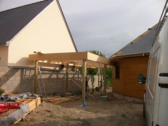 ma maison bois construction du carport en bois ma maison bois cologique. Black Bedroom Furniture Sets. Home Design Ideas