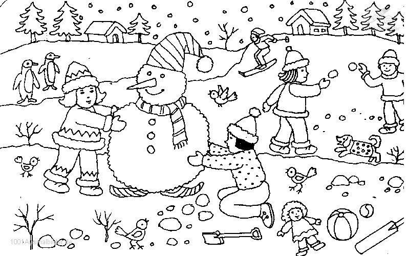 Gratis Malvorlagen Winterlandschaft | My blog