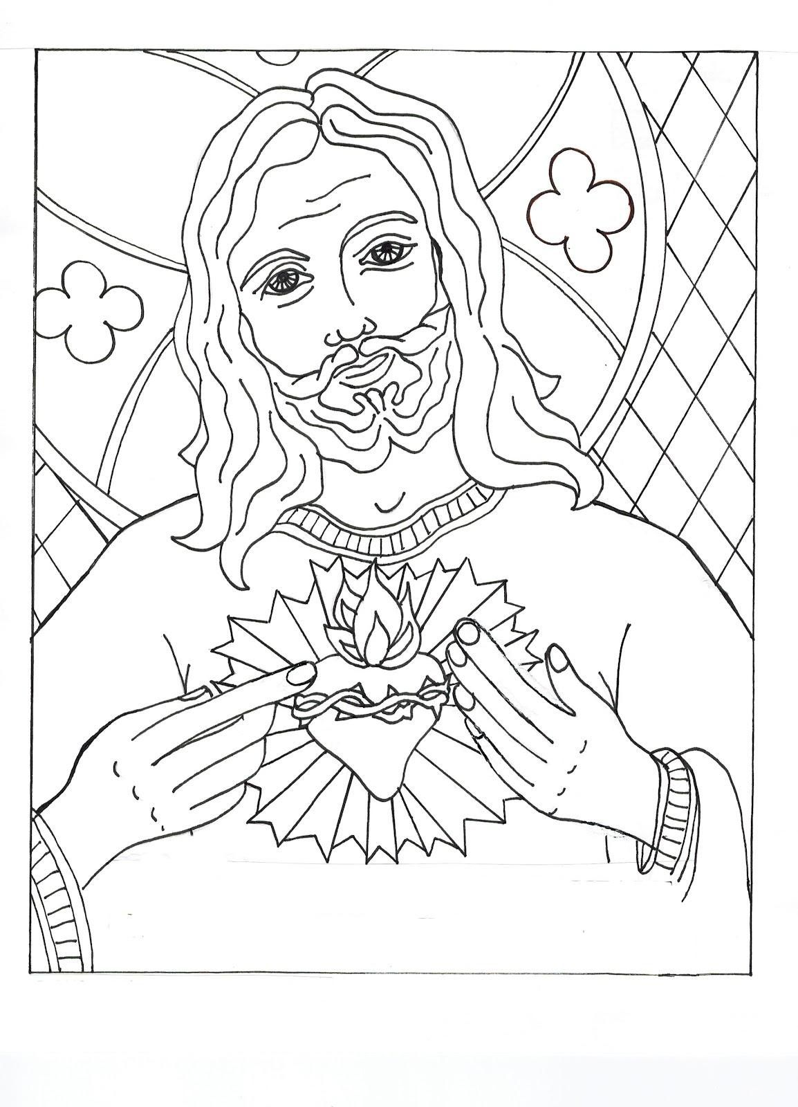 heart and jesus coloring pages - photo#12