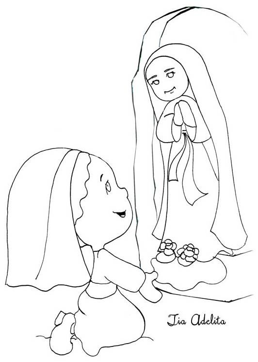 Our lady of fatima coloring coloring pages for Our lady of lourdes coloring page