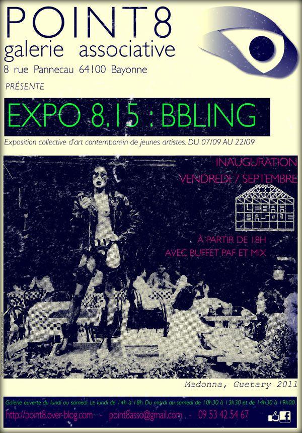 """[Description] EXPOSITION 8.15 : BBLING  Exposition collective d'art contemporain de jeunes artistes spécial """"BLACK AND BASQUE"""" en version OFF avec plus de B et de paillettes !!!! DU 07/09 AU 22/09"""