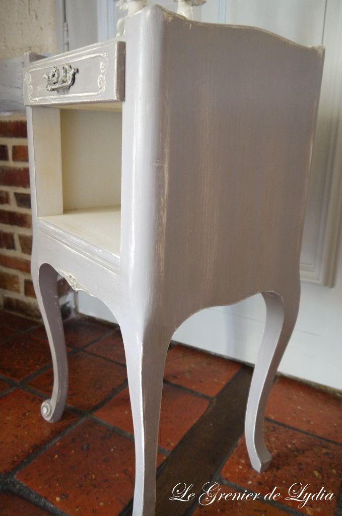 petit gu ridon ou chevet patin gris marie antoinette relooking de meubles meubles patin s. Black Bedroom Furniture Sets. Home Design Ideas