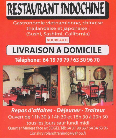 livraison domicile sur conakry restaurant l 39 indochine vivre en guin e. Black Bedroom Furniture Sets. Home Design Ideas
