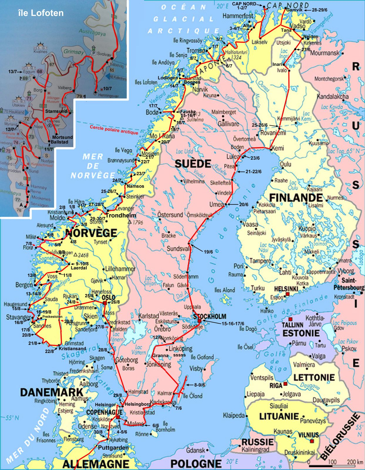 carte du circuit scandinavie les voyages en camping car