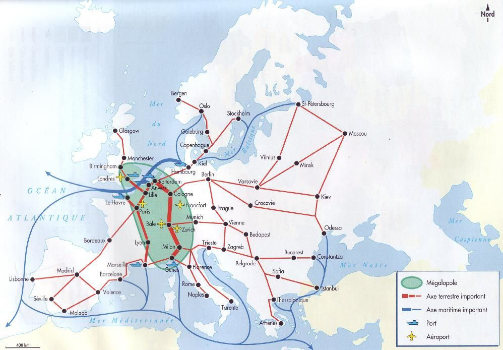 Le réseau de transport en Europe