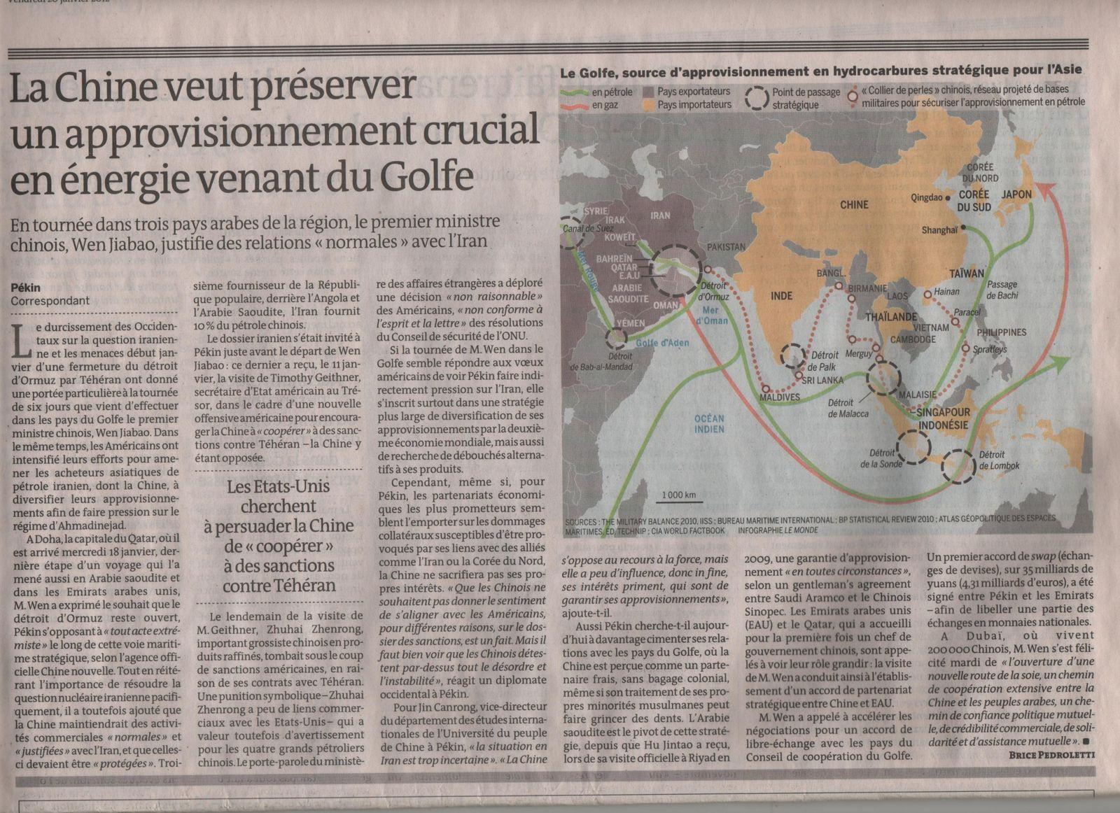 Chine hydrocarbures - le Monde - 20 janvier 2012