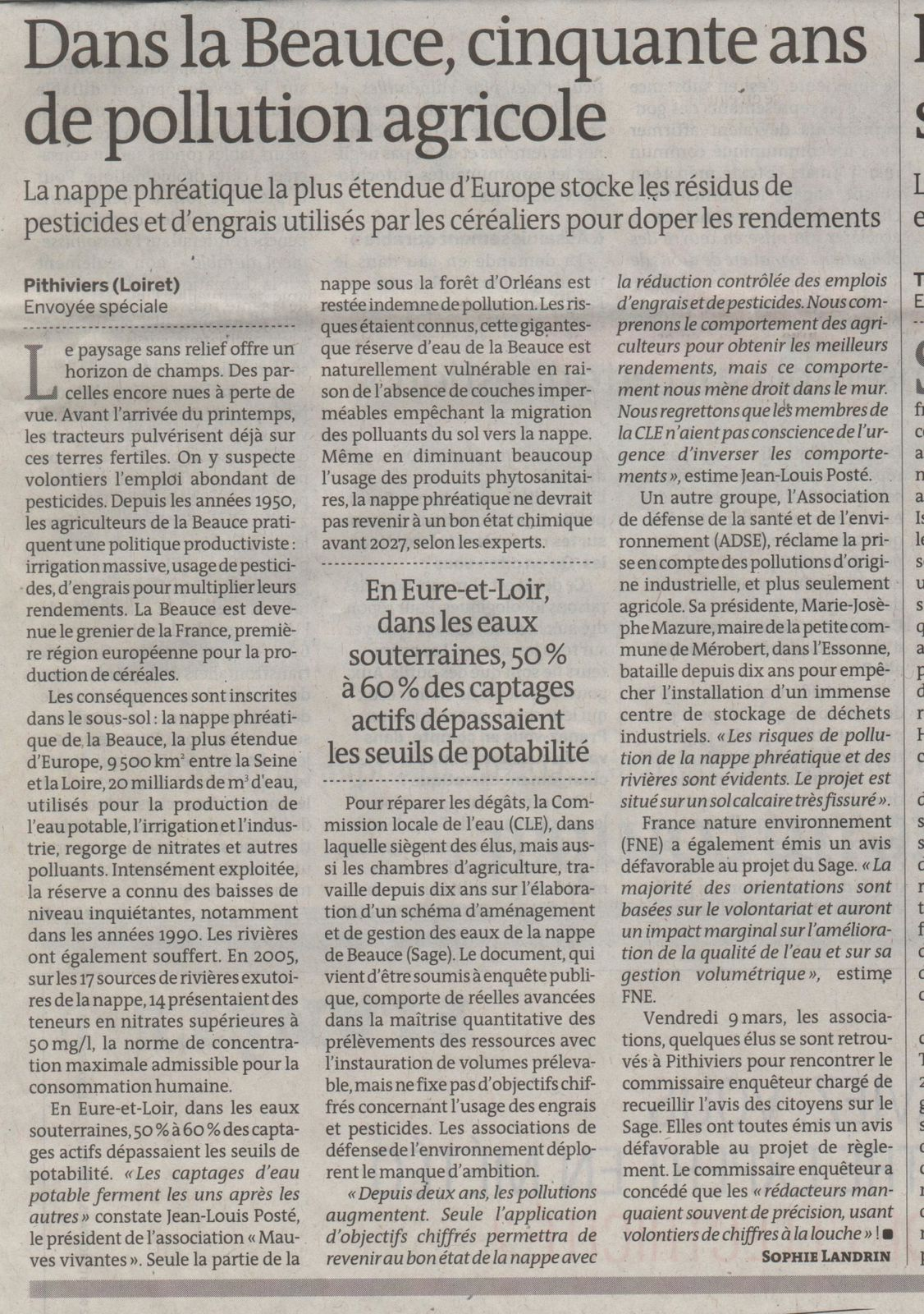 Pollution agricole Beauce - le monde - 13-03-2012