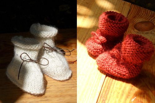 chaussons beige+rouge