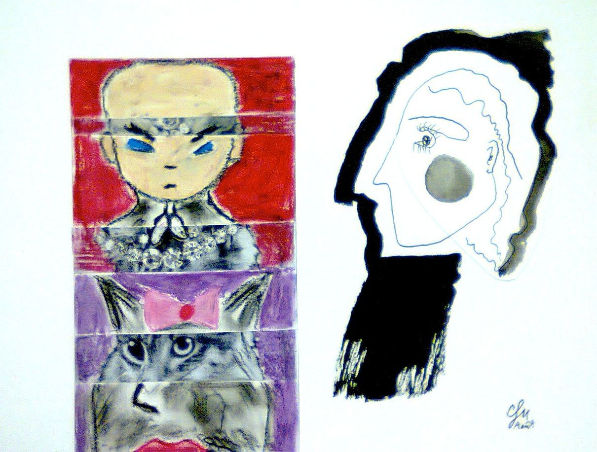 Dessins d'enfants + collages aquarellés
