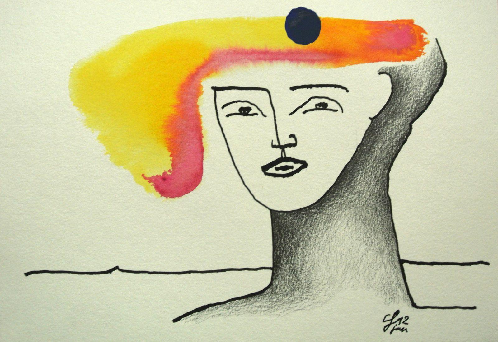Encre (plume d'oie), Aquarelle