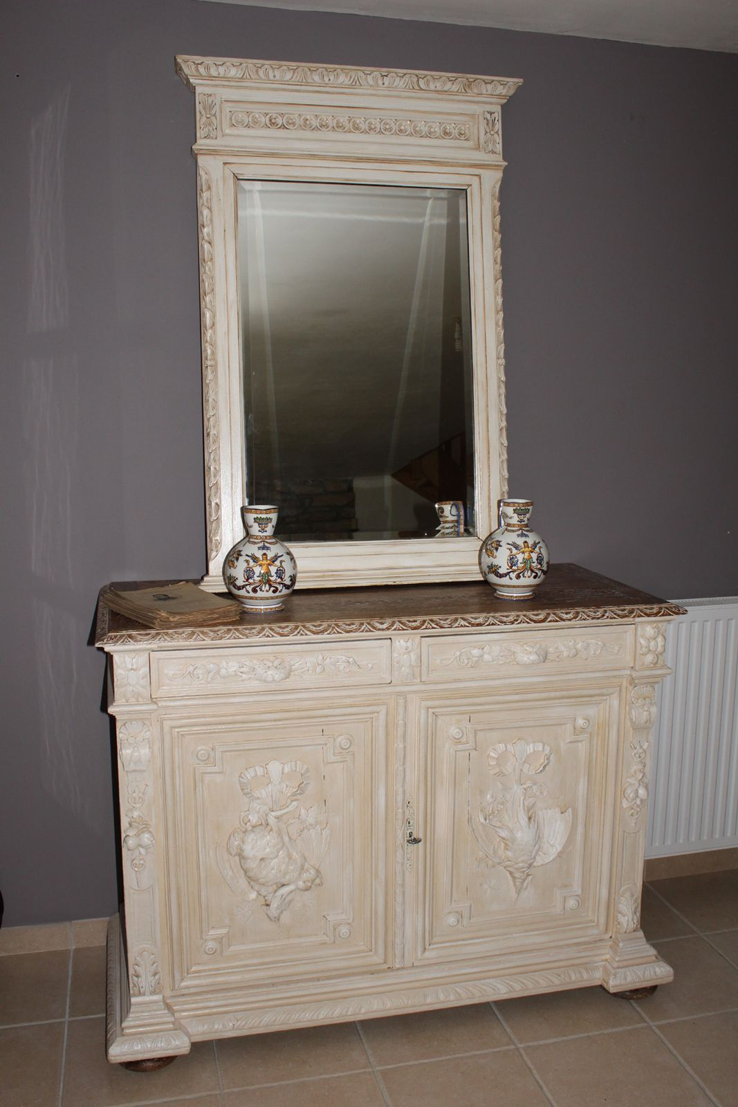 album buffet et miroir henri ii patin beige brocante. Black Bedroom Furniture Sets. Home Design Ideas