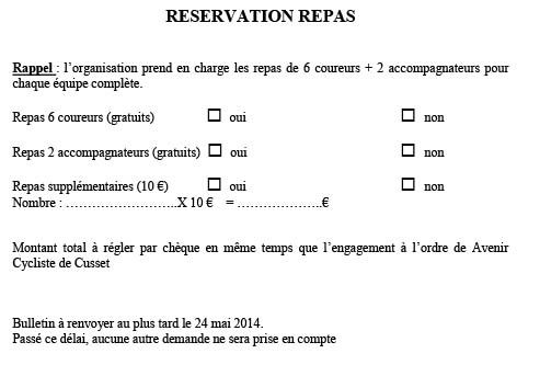 RESERVATION REPAS 2014