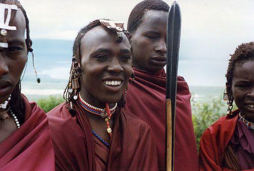 Afrique Masai group smiling