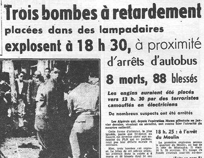 Algérie 1957 terreur bombes