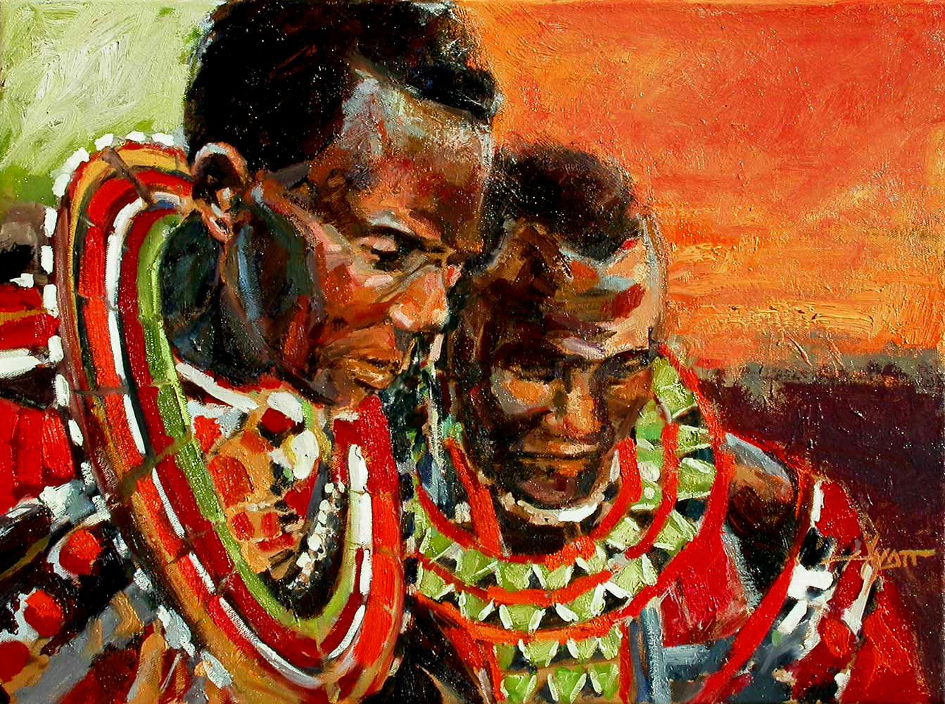 Afrique Masai-Two-Generations painting
