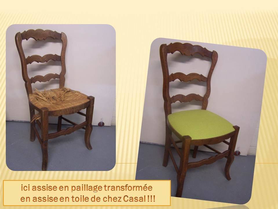 Chaises en paillage ou en cannage transform es tapisserie patrick graffard - Restaurer une chaise ...