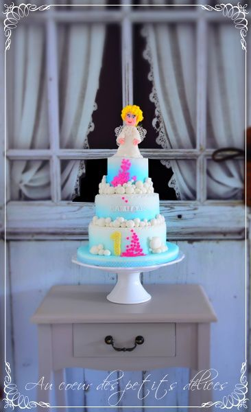 Gâteau ange coeurs cake designer Nimes 30