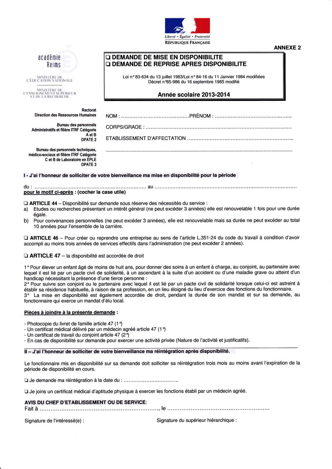 Circulaires Temps Partiel Dispos Detachement Syndicat