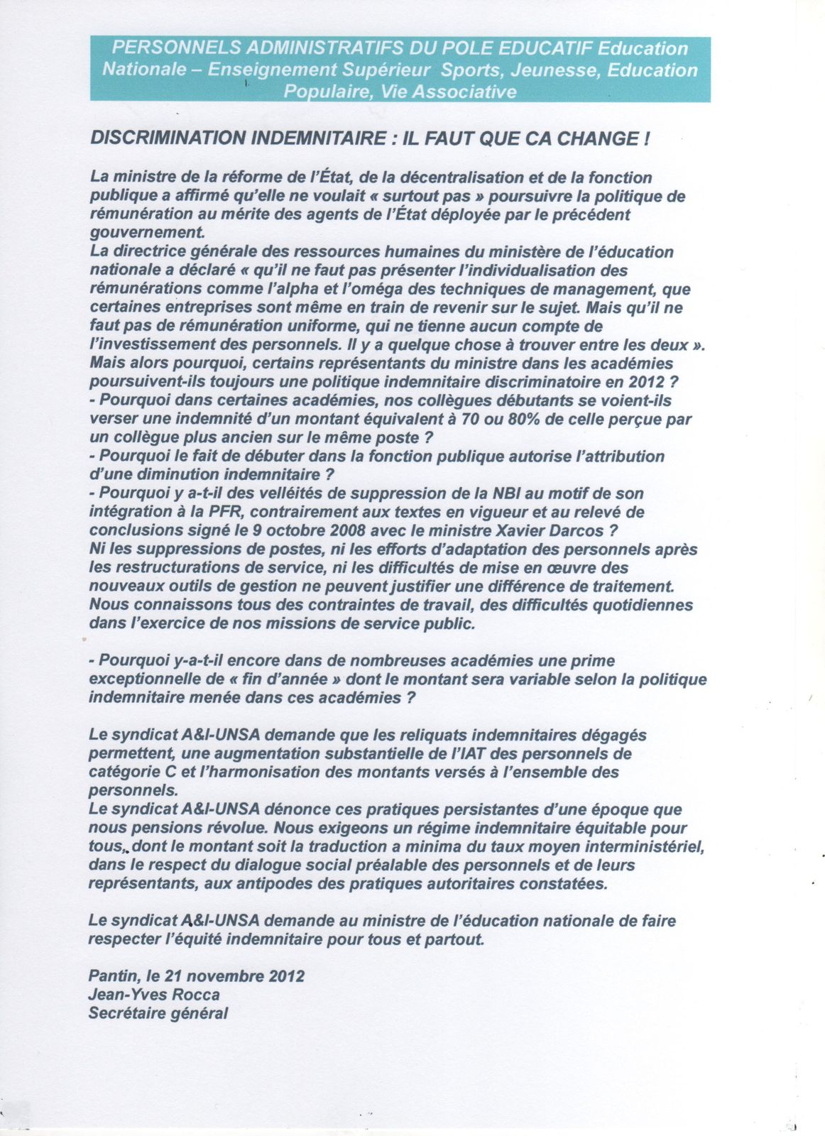 Discrimination indemnitaire syndicat aeti unsa acad mie - Grille indiciaire adjoint administratif education nationale ...
