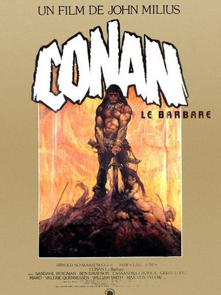 Arnold Schwarzenegger, John Milius dans Conan le barbare (Affiche)