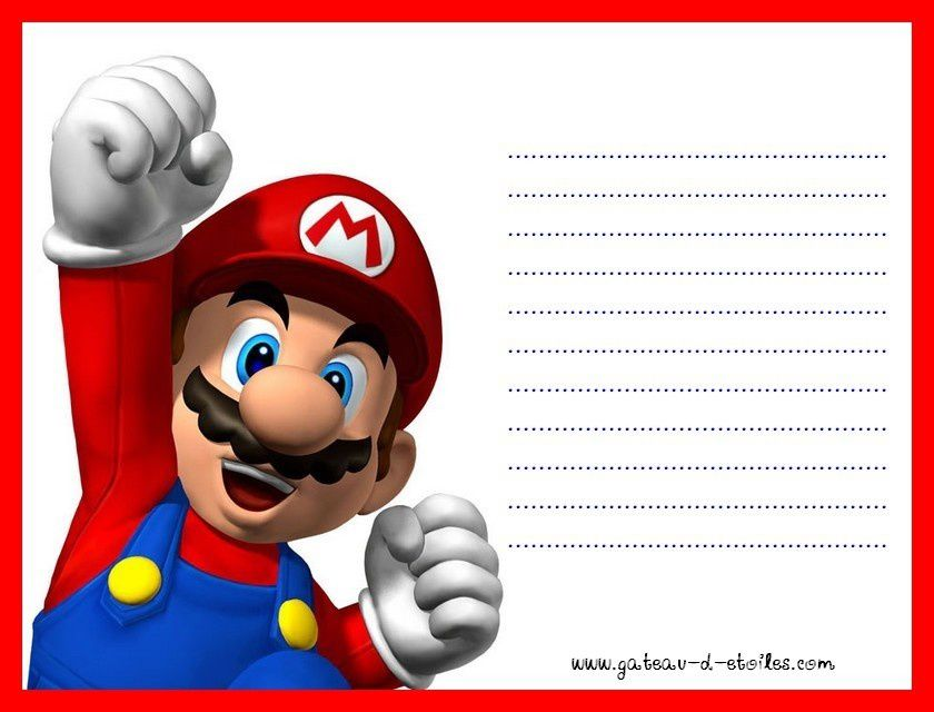 Carte Invitation Mario à Imprimer Lighteam