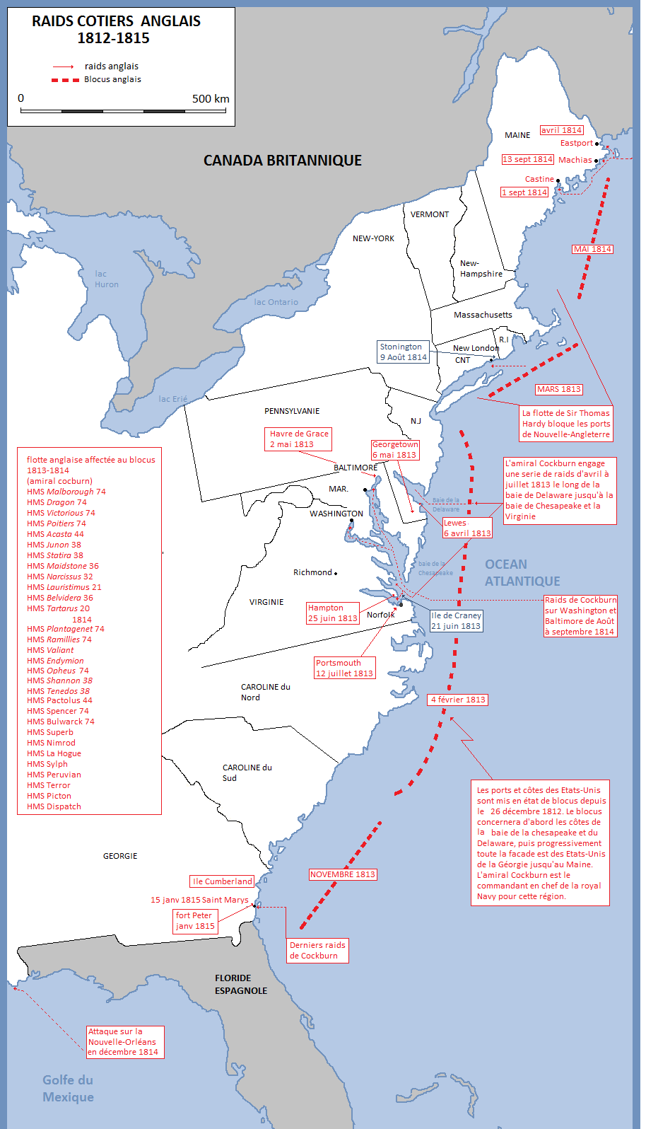 The Coastal Raids Of Royal Navy During The War Of The - Map of us during war of 1812