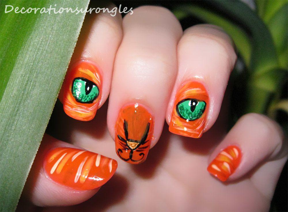 Challenge des 31 semaines imprim animal d corations sur ongles blog nail art - Nail art chat ...
