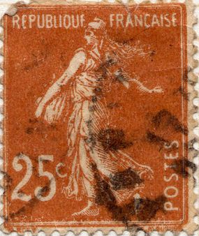 25 Centimes. French definative stamp.