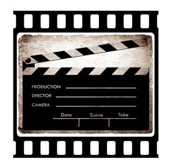 35mm slide frame with film clapboard..