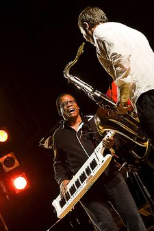 1 Herbie Hancock live in concert playing the keytar. | Source http://
