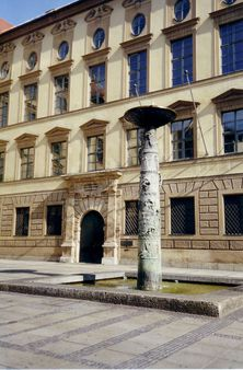 Bronze-fountain in the centre of Munich in front of the Alte Akademie