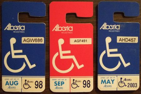 ALBERTA HANDICAP placards with stickers