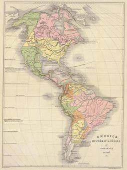 1 Mapa físico y político de América en 1840 Western hemisphere map,