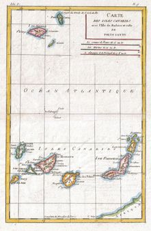 A fine example of Rigobert Bonne and G. Raynals 1780 map of the Canary