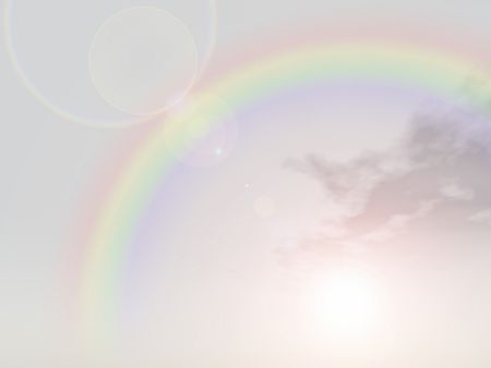 high resolution 3d sky background with clouds and a rainbow