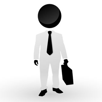 Abstract simple businessman with tie and case
