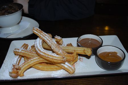 Churros for two with Dark Chocolate and Dulce de Leche dipping sauce -