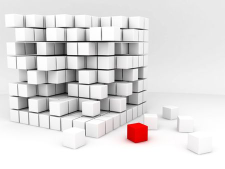 one red and many white cubes