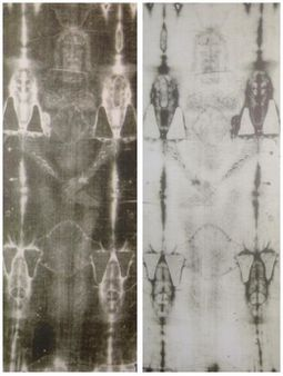 1 Printing (right) and a negative (left) of the en:Shroud of Turin | S