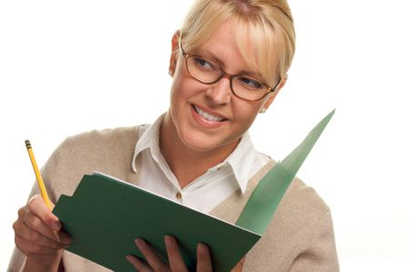 Beautiful Woman Uses Pencil and Folder